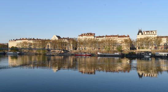 Vue des quais du Rhône à Lyon où les arbres se reflètent dans le fleuve